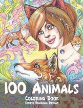 100 Animals - Coloring Book - Stress Relieving Designs