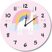 Kinderklok regenboog, eenhoorn/unicorn, wolkjes roze  | STIL UURWERK  | wandklok van kunststof/aluminium voor kinderkamer en babykamer - decoratie accessoires - meisjes slaapkamer