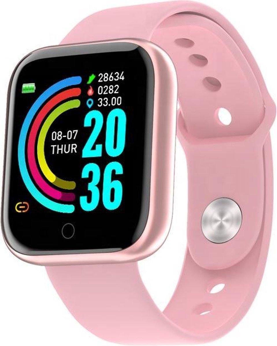 Belesy® Base - Smartwatch - Horloge - 1,3 inch Kleurenscherm - Stappenteller - Bloeddrukmeter - Verbrande calorieën - 3x sportmodus - Siliconen - Zilver - Wit kopen