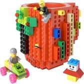 Lego Mok/ Build on Brick Mug - oranje - 350 ml - bouw je eigen mok met bouwsteentjes - BPA vrije drinkbeker cadeau voor kinderen of volwassenen - koffie thee limonade of andere dranken - pennenbeker - creatief accessoire voor op bureau -HnD