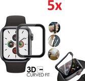 Full Cover 3D Edge Curved Screen Protector Hoes Voor Apple Watch Series 4/5 40mm - Optimale Rand Tot Rand Display Bescherming - iWatch Schermbeschermer - Set Van 5 Stuks