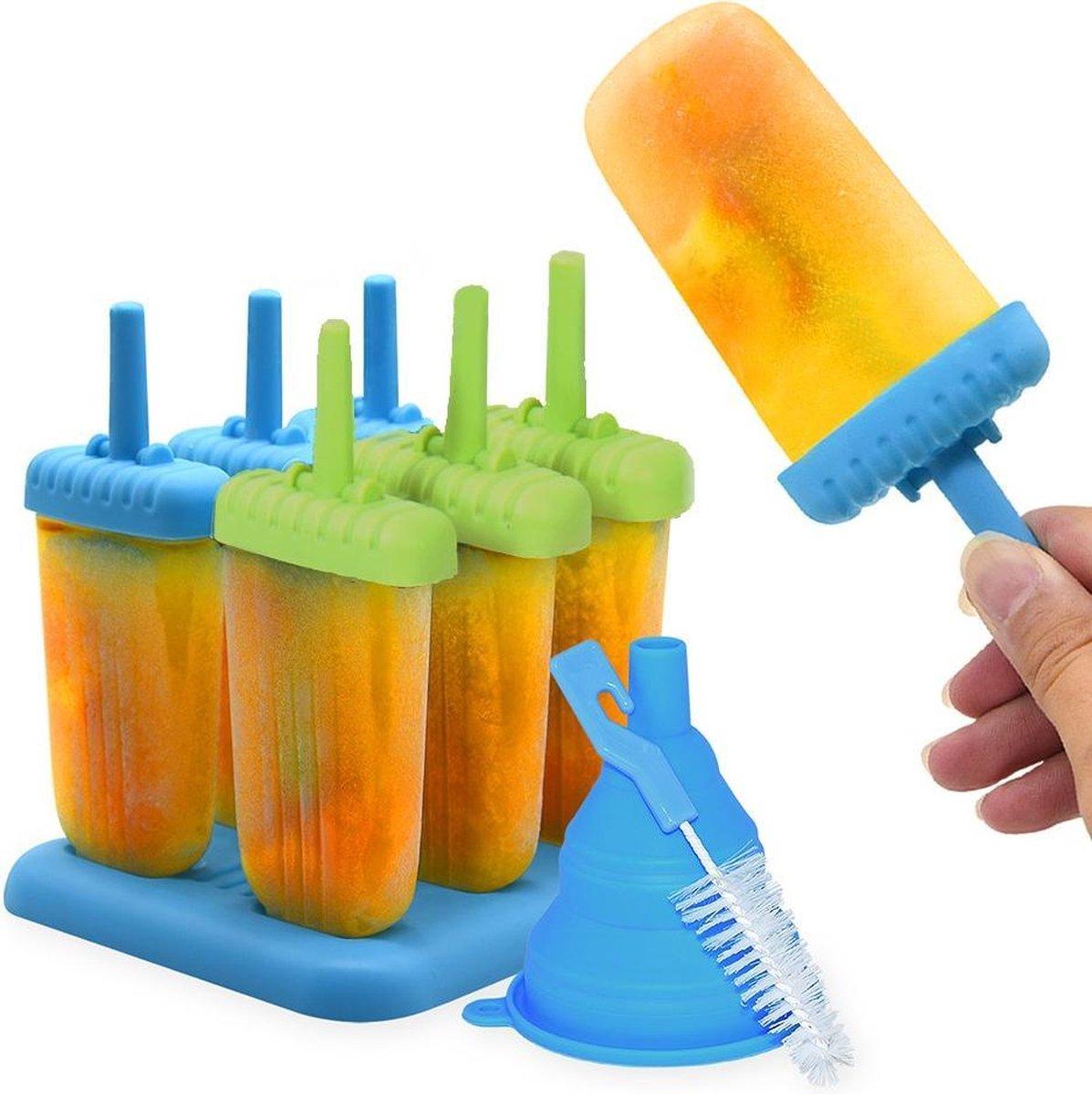 Perow ijsvormen - 6 Stuks - Inclusief Gratis Trechter en Reinigingsborstel - BPA en Chemicali n Vrij
