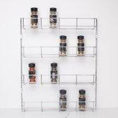 Zindoo - Kruidenrek - 4-laags - Ophangbaar - Spice rack - Specerijenrek - Keukenorganizer - Keukenaccessoires - ZIN-SR03 - Zilverkleurig | Zilver