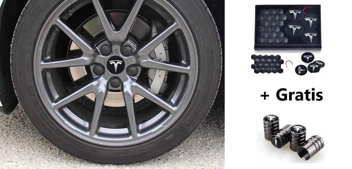 Tesla Model 3 S X Aero Wheel Cap Kit Wieldoppen Auto Accessoires Naafdoppen   OEM   Zwart Zilver