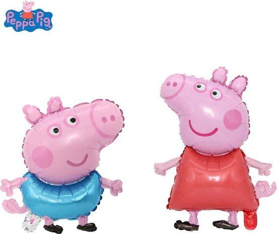 Peppa Pig en George Pig folie ballon | set van 2 stuks | 74x49 cm | 50x39cm | verjaardag versiering kinderfeestje | Feestpakket | Inclusief opblaas rietje | Peppa Big | George Big