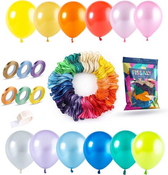 Fissaly® 120 Stuks Gekleurde Latex Helium Ballonnen met Accessoires – Wit, Geel, Oranje, Rood, Roze, Paars, Blauw & Groen Decoratie