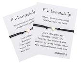 Mannies vriendschapsarmband / wens armband - 2 stuks - Inclusief boodschap - Één voor jou, één voor je vriend(in) - Vriendschap – Hartje Zwart