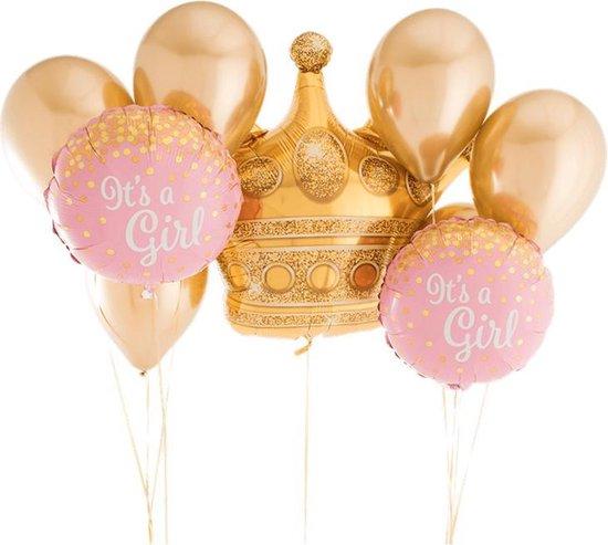 Luxe Grote Geboorte Folie ballonnen set Meisje | It's a Girl - Baby | 9 stuks | 18 inch | Kroon | Babyshower - Kraamfeest - Decoratie - Feest - Kraamtijd - Kraamborrel - Versiering | Rose - Wit – Metallic - Goud - Dochter - Zusje