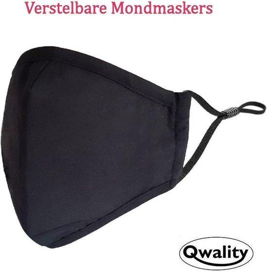 Afbeelding van Mondkapje Wasbaar - Verstelbare Mondkapjes - Katoenen Mondmasker - Mouth Mask - Custom Design - Stoffen Mond masker - Herbruikbaar Mond Kapje - Zwart - Qwality