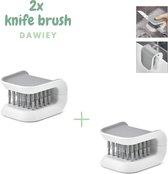2x messenborstel - Schoonmaak borstel - Bestek reiniger - Afwasborstel - Klein
