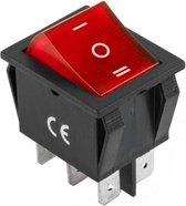 Tuimelschakelaar - 3 standen - verlicht - rood - 230V 15A