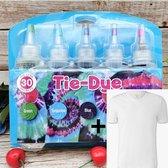 DIY 5 Kleuren Tie Dye + FRUIT OF THE LOOM T-Shirt - Complete verfset voor je kleding en textiel - Regenboogkleuren - Hoogwaardige kwaliteit - Kindvriendelijk - Incl. handschoenen en elastiekjes - DIY - Levendige Kleuren