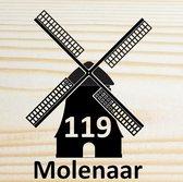 Van hout gemaakte naambord voordeur - 25x25cm - Molen