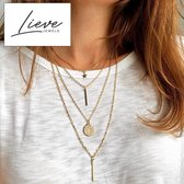 Ketting Set - Goud Ster Munt 4 Lagen - Dames - Lieve Jewels