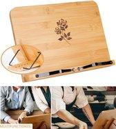 Vitamo™ Bamboe Kookboekstandaard 5 Standen - Bladzijdehouder - Geschikt voor dikke kookboek - Compact - Duurzaam hout - Roos