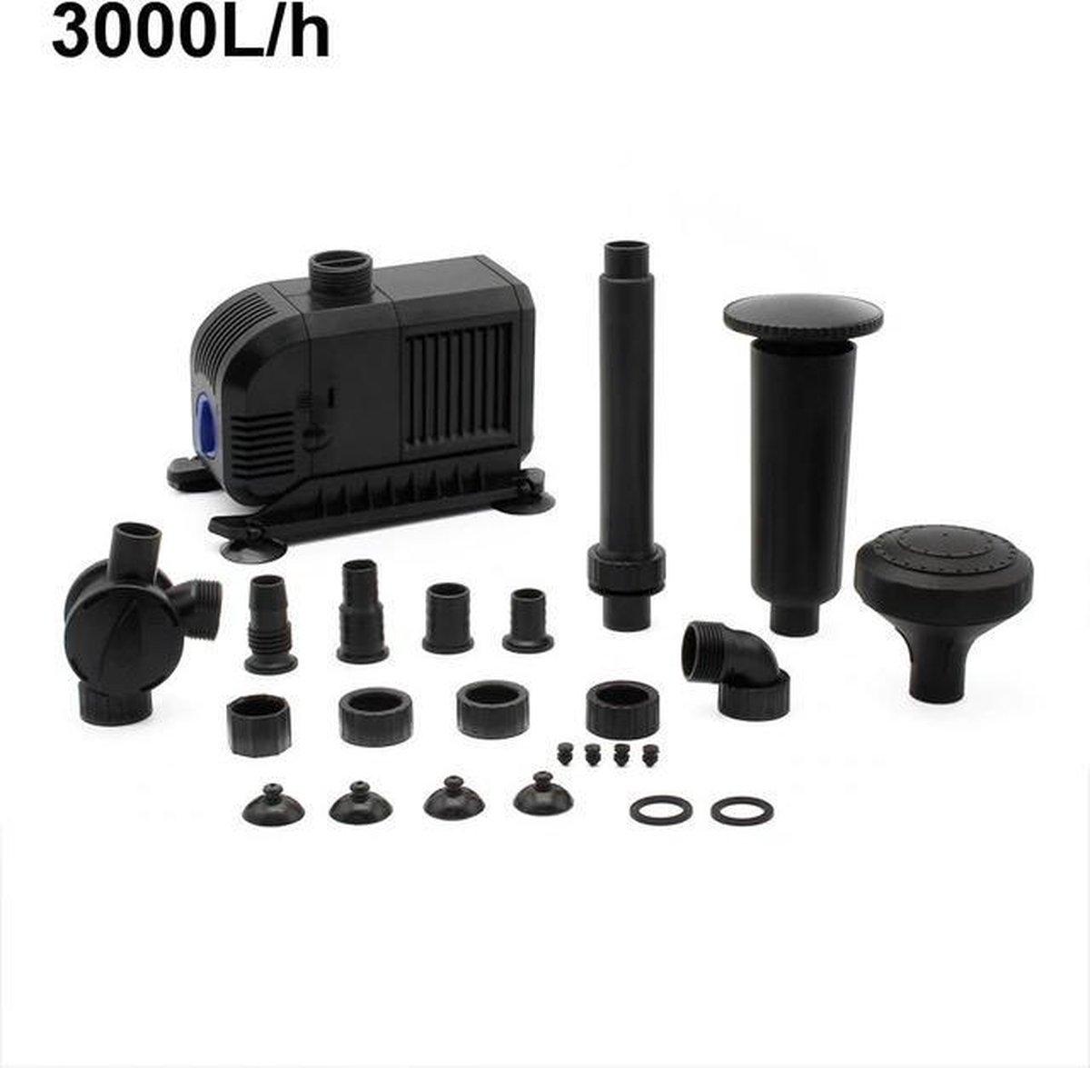 Water Fontein Dompelpomp met voorfilter en mondstukken - 55W 3000L/H