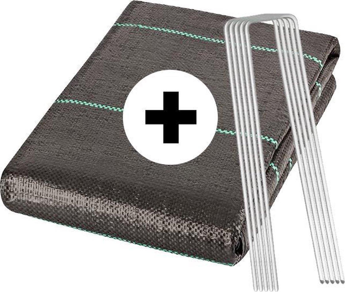 YUGN Anti Worteldoek 4x5M en 60 Gronddoekpennen - Duurzaam Gronddoek en Bodembedekker - Ideale Onkru