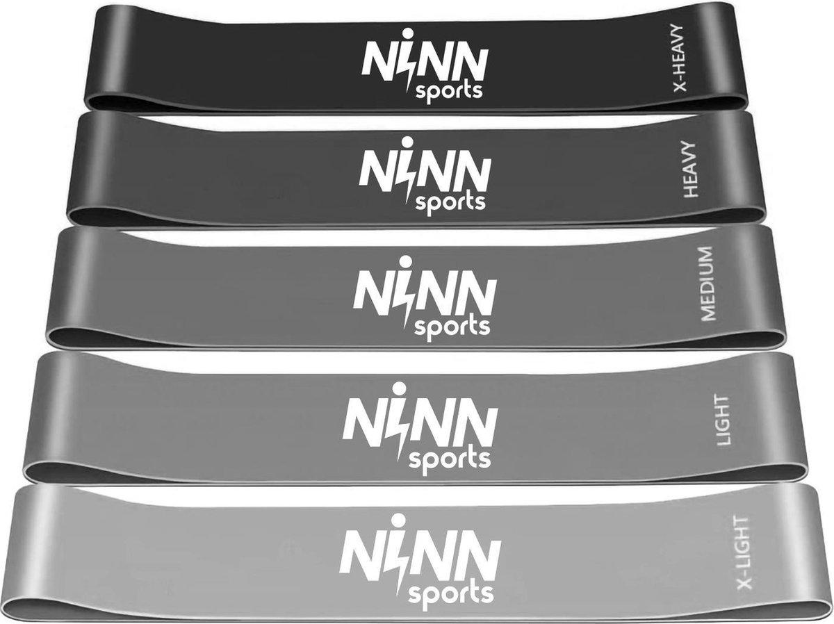NINN Sports - Premium Weerstandsbanden van hoge kwaliteit (Grijs) - Set van 5 Resistance Banden - Fi