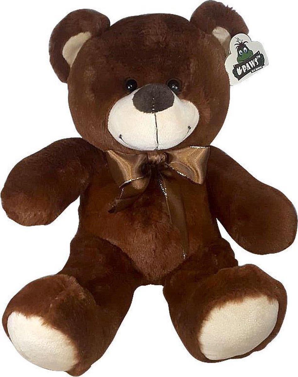 Teddybeer Met Strik Donkerbruin 30cm