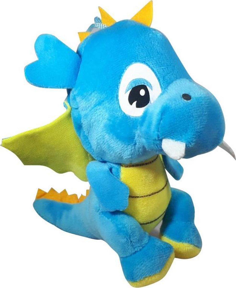Pluche Draak Knuffel Blauw 18cm