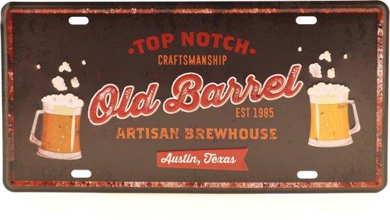 Wandbord – Mancave – Old Barrel bord – Vintage - Retro -  Wanddecoratie – Reclame bord – Restaurant – Kroeg - Bar – Cafe - Horeca – Metal Sign - Bier – Bier liefhebber – Bier brouwerij - 15x30cm