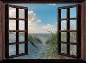 Tuindoek doorkijk door openslaand venster naar duinen - 130x95 cm - tuinposter - tuinposter doorkijkje – Doorkijk tuinposter - tuinposter doorkijk xxl – Tuinposter buiten met duinen - Tuin - Tuinaccessoires - Tuinschilderij -