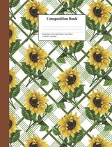 Composition Book College-Ruled Blooming Sunflower Tartan Pattern: Class Notebook for Study Notes and Writing Assignments