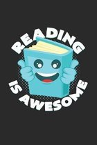 Reading is awesome: 6x9 Reading - dotgrid - dot grid paper - notebook - notes