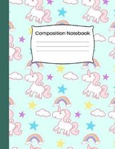 Composition Notebook: Wide Ruled School Home Office Teacher Student 100 Pages - Cute Pink&Green Unicorn Pattern Notebook (School Composition