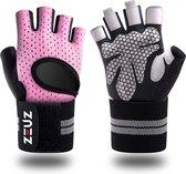 ZEUZ® Sport & Fitness Handschoenen Dames – Krachttraining Artikelen – Gym & Crossfit Training – Roze & Zwart – Maat S