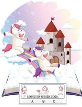 Composition Notebook School: Dotted Midline and Picture Space - Grades K-2 Composition School Exercise Book - 100 Story Pages (Cute Unicorn Noteboo