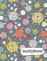 Sketchbook: Colorful Abstract Sea Turtles Fun Framed Drawing Paper Notebook