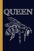 Queen Honey Bee: 6x9 120 Page College Ruled Beekeeper Notebook