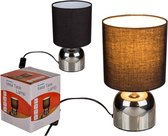 Metalen tafellamp/bureaulamp met zwarte lampenkap - Schemerlamp 26 cm - E14 - Schemerlampen/bureaulampen