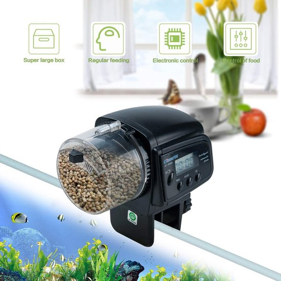 Automatische visvoer   Voederautomaat   Auto Feeder   Automatisch voeren eten geven   Visvoer dispenser   Voederautomaat voor aquarium met LCD-display geschikt voor vakantie  Food Feeder