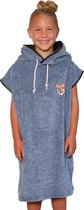 Premium Surf Poncho - Omkleed Handdoek - Zwembad/Strand - Fluffy Blue - Jongen/Meisje - Kind - Blauw