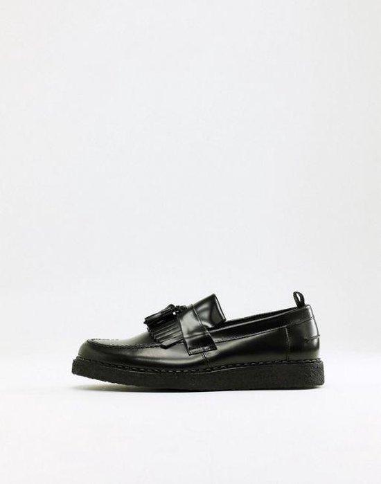 Fred Perry George Cox leren loafers met kwastjes - Zwart voor heren nette schoenen instappers - Glad echt Leer - Maat 42