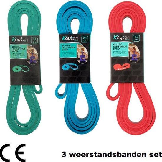 Kaytan - 3 weerstandsbanden set - Resistance bands - Fitness elastieken - Power band 15, 25 en 35 kg