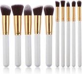 Evvie set van 10 make-up kwasten kabuki - Wit-Goud