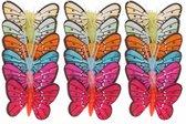 24x stuks gekleurde decoratie vlinders 5 cm op prikkers/instekers - zomer/lente feest versieringen