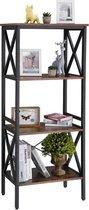 MIRA Home - Boekenrek - Opbergkast - Industrieel - Metaal - Hout -  Bruin/Zwart - 56x34x131