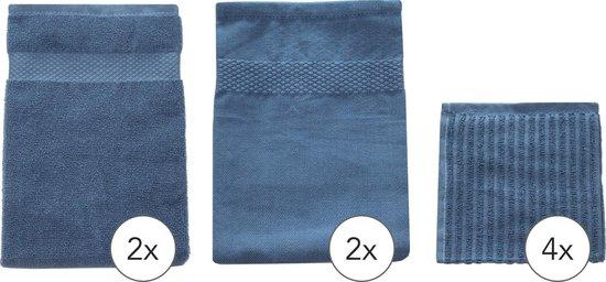 EM Kitchen Set Blauw - 2 Theedoeken 50x70cm + 2 Keukendoeken 50x50cm + 4 Vaatdoeken 30x30cm