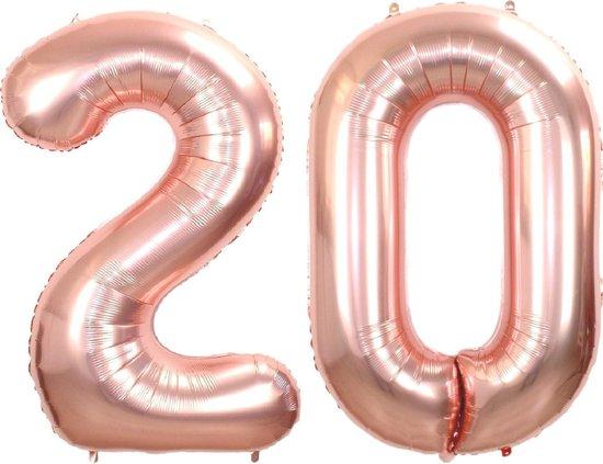 Folie Ballon Cijfer 20 Jaar Rosé Goud 36Cm Verjaardag Folieballon Met Rietje