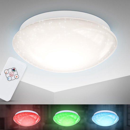 B.K.Licht - LED Plafondlamp - sterrenhemel - dimbaar - RGB plafonnière - nachtlichtfunctie - kinderkamer - IR afstandsbediening - 10W - Ø26cm