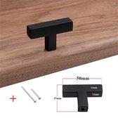DW4Trading® Handgreep meubel deur RVS met schroeven zwart 50 mm