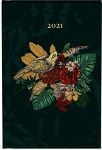 Botanic mini agenda 2021 - 8 x 12 cm klein formaat - lannoo - vogel - bladeren - groen