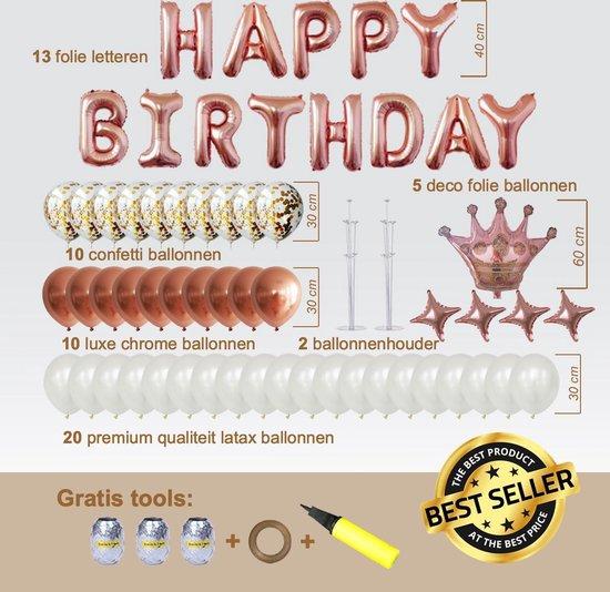 Ballonnen Pakket 65 delig Premium Kwaliteit Rose Goud Folie-Latex-Confetti , Verjaardag, Happy Birthday, Feest, Party, Set, Decoratie, Versiering, Miracle Shop