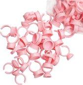 100 stuks Lijmringen Roze - wimperlijm - wimperextensions - lijm-ring- lijm cup