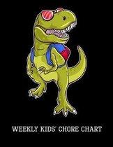 Weekly Kids' Chore Chart: T-Rex, Childrens Responsibility Checklist