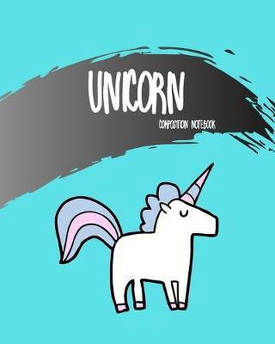 Unicorn Composition Notebook: Blue Color Cover 8x10 '' 100 Pages Wide Ruled Paper, Elementary School Supplies Student & Teacher